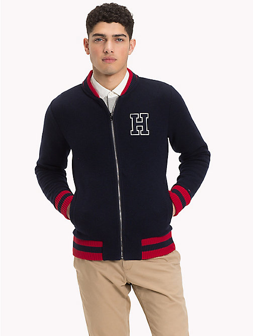 TOMMY HILFIGER Fleece Baseball Zip Jacket - SKY CAPTAIN - TOMMY HILFIGER NEW IN - main image
