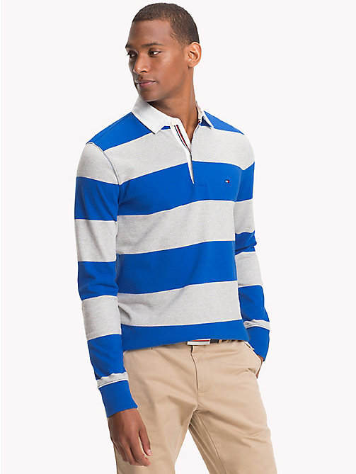 TOMMY HILFIGER Block Stripe Rugby Shirt - BLUE LOLITE / CLOUD HTR - TOMMY HILFIGER Rugby shirts - main image