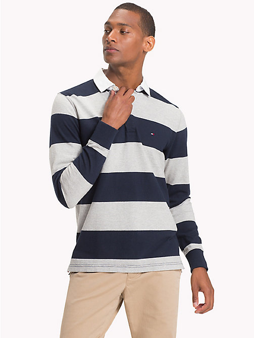 TOMMY HILFIGER Block Stripe Rugby Shirt - SKY CAPTAIN / CLOUD HTR - TOMMY HILFIGER Rugby shirts - main image