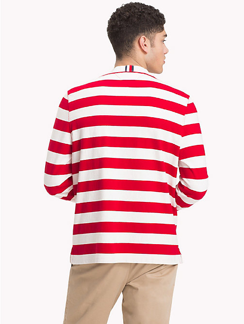 TOMMY HILFIGER Stripe Monogram Rugby Shirt - HAUTE RED / WHISPER WHITE - TOMMY HILFIGER Rugby shirts - detail image 1