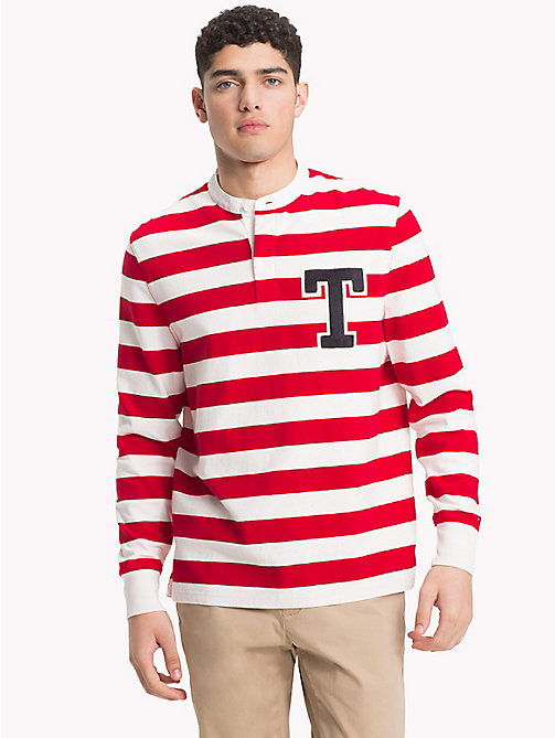 TOMMY HILFIGER Stripe Monogram Rugby Shirt - HAUTE RED / WHISPER WHITE - TOMMY HILFIGER Rugby shirts - main image