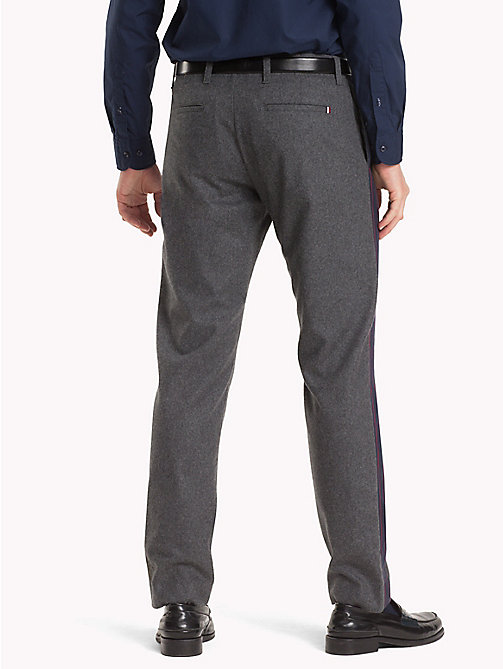 TOMMY HILFIGER Side-Tape Wool Trousers - SILVER FOG HTR - TOMMY HILFIGER NEW IN - detail image 1
