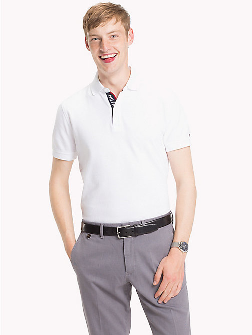TOMMY HILFIGER Hilfiger Placket Polo Shirt - BRIGHT WHITE - TOMMY HILFIGER Polo Shirts - main image