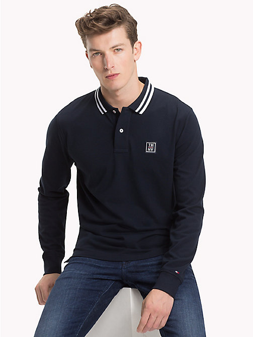 TOMMY HILFIGER Stripe Collar Polo Shirt - SKY CAPTAIN - TOMMY HILFIGER NEW IN - main image