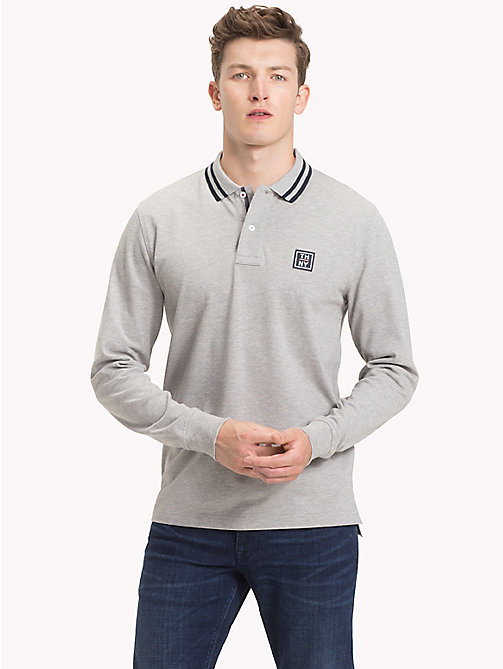 TOMMY HILFIGER Stripe Collar Polo Shirt - CLOUD HTR - TOMMY HILFIGER Polo Shirts - main image