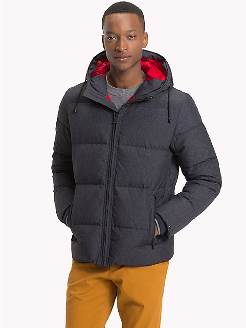 TOMMY HILFIGER Hooded Bomber Jacket - CHARCOAL HTR - TOMMY HILFIGER Clothing - main image