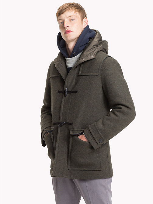 TOMMY HILFIGER Wool Jersey Hooded Duffel - ROSIN HEATHER - TOMMY HILFIGER Coats - main image