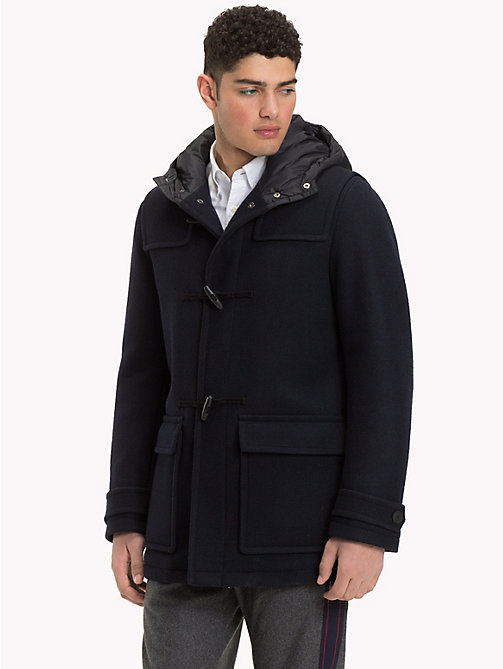 TOMMY HILFIGER Wool Jersey Hooded Duffel - SKY CAPTAIN - TOMMY HILFIGER Coats - main image