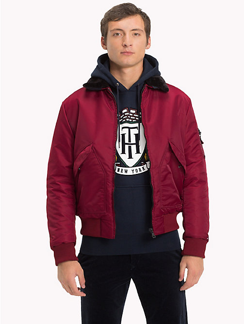 TOMMY HILFIGER Detachable Collar Bomber Jacket - CABERNET - TOMMY HILFIGER Coats & Jackets - main image
