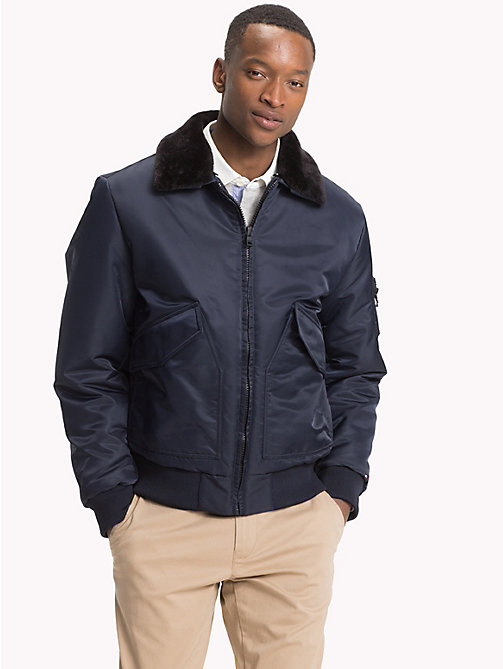 TOMMY HILFIGER Detachable Collar Bomber Jacket - 413-SKY CAPTAIN - TOMMY HILFIGER NEW IN - main image