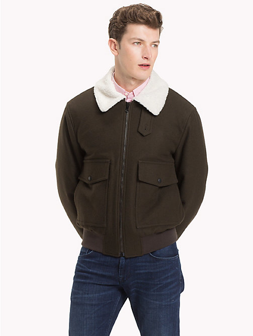 TOMMY HILFIGER Virgin Wool Bomber Jacket - ROSIN - TOMMY HILFIGER Clothing - main image