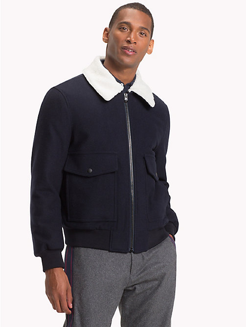 TOMMY HILFIGER Virgin Wool Bomber Jacket - SKY CAPTAIN - TOMMY HILFIGER Clothing - main image