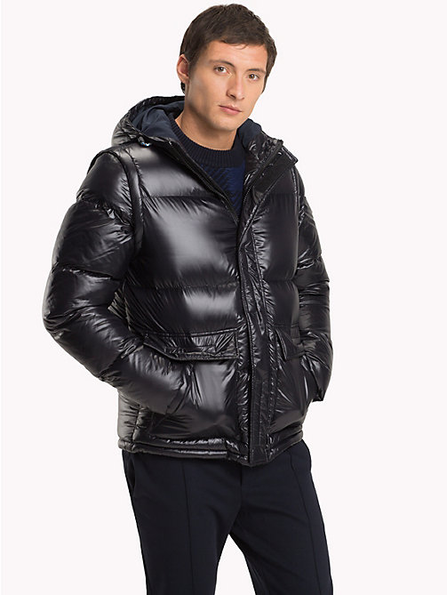 TOMMY HILFIGER Hooded Down Bomber Jacket - JET BLACK - TOMMY HILFIGER Clothing - main image