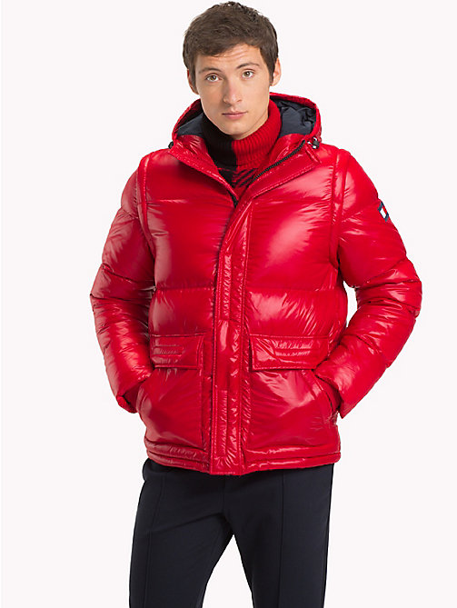 TOMMY HILFIGER Hooded Down Bomber Jacket - HAUTE RED - TOMMY HILFIGER Clothing - main image