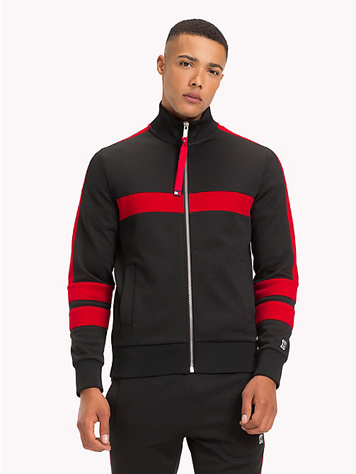 TOMMY HILFIGER Lewis Hamilton Striped Tracksuit Top - JET BLACK - TOMMY HILFIGER TOMMY NOW MEN - main image