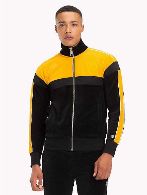 TOMMY HILFIGER Lewis Hamilton Velvet Zip-Thru Jacket - JET BLACK / GOLDEN YELLOW - TOMMY HILFIGER TOMMY NOW MEN - main image