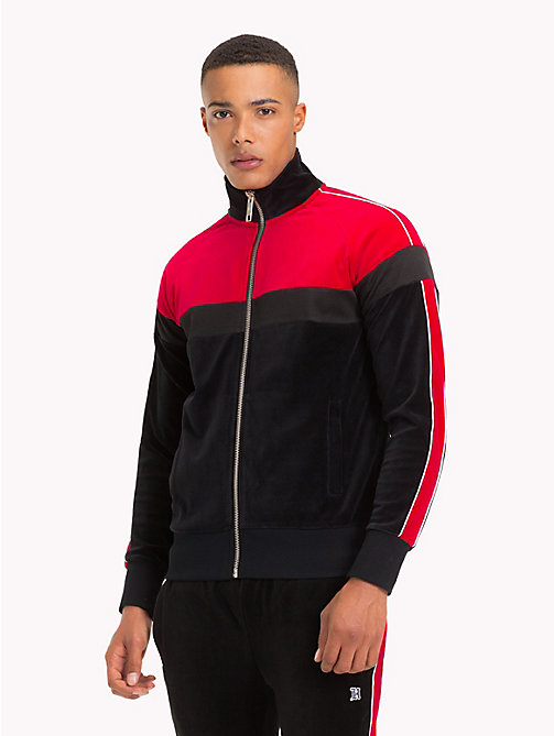 TOMMY HILFIGER Lewis Hamilton Velvet Zip-Thru Jacket - JET BLACK / BARBADOS CHERRY - TOMMY HILFIGER TOMMY NOW MEN - main image