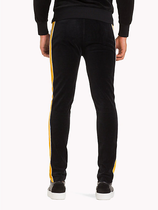 TOMMY HILFIGER Striped Velvet Tracksuit Bottoms - JET BLACK / GOLDEN YELLOW - TOMMY HILFIGER TOMMY NOW MEN - detail image 1