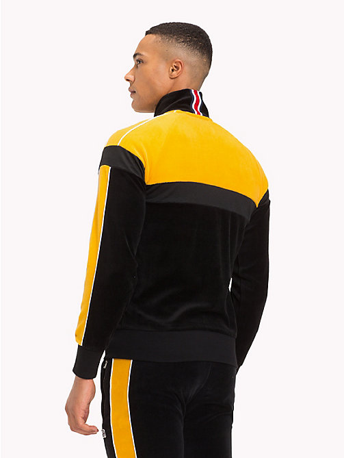 TOMMY HILFIGER Striped Velvet Tracksuit Bottoms - JET BLACK / GOLDEN YELLOW - TOMMY HILFIGER Tracksuits - detail image 1