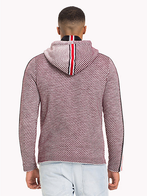 TOMMY HILFIGER Lewis Hamilton Striped Hoodie - BURGUNDY / WHITE - TOMMY HILFIGER TOMMY NOW MEN - detail image 1