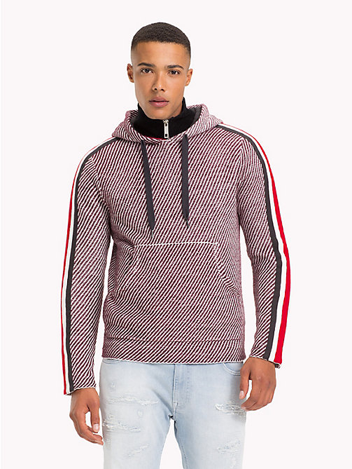 TOMMY HILFIGER Lewis Hamilton Striped Hoodie - BURGUNDY / WHITE - TOMMY HILFIGER TOMMY NOW MEN - main image