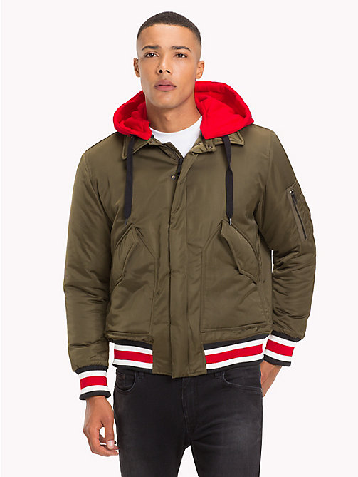 TOMMY HILFIGER Lewis Hamilton Hooded Bomber Jacket - OLIVE NIGHT - TOMMY HILFIGER Clothing - main image