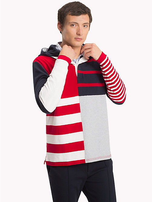 TOMMY HILFIGER Stripe Hooded Rugby Shirt - SKY CAPTAIN / MULTI - TOMMY HILFIGER Rugby shirts - main image