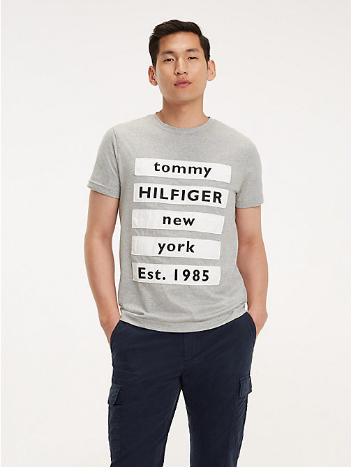 TOMMY HILFIGER Block Text Cotton Logo T-Shirt - CLOUD HTR - TOMMY HILFIGER T-Shirts & Polos - main image