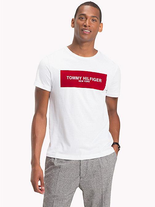 TOMMY HILFIGER Box Logo Cotton T-Shirt - BRIGHT WHITE - TOMMY HILFIGER T-Shirts - main image