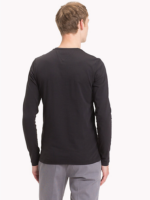 TOMMY HILFIGER Stretch Slim Fit Cotton T-Shirt - JET BLACK - TOMMY HILFIGER T-Shirts - detail image 1