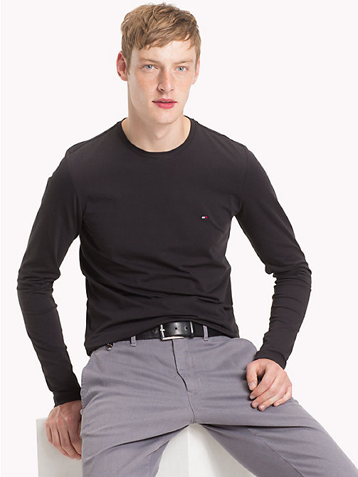 TOMMY HILFIGER Stretch Slim Fit Cotton T-Shirt - JET BLACK - TOMMY HILFIGER T-Shirts - main image
