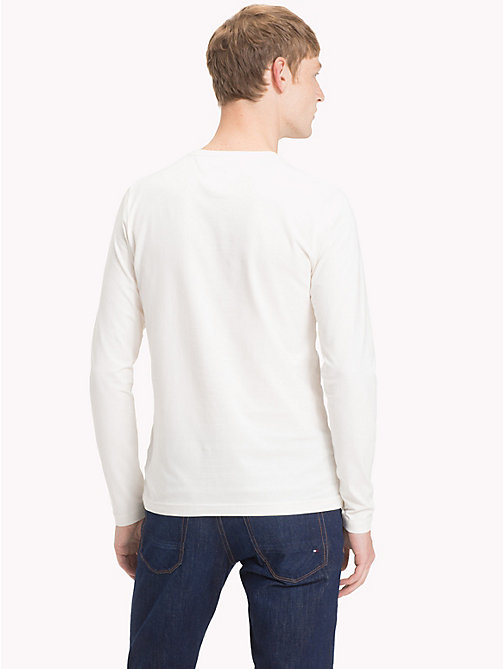 TOMMY HILFIGER Stretch Slim Fit Cotton T-Shirt - WHISPER WHITE - TOMMY HILFIGER Clothing - detail image 1
