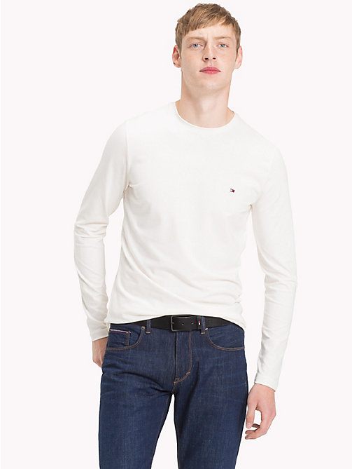 TOMMY HILFIGER Stretch Slim Fit Cotton T-Shirt - WHISPER WHITE - TOMMY HILFIGER Clothing - main image