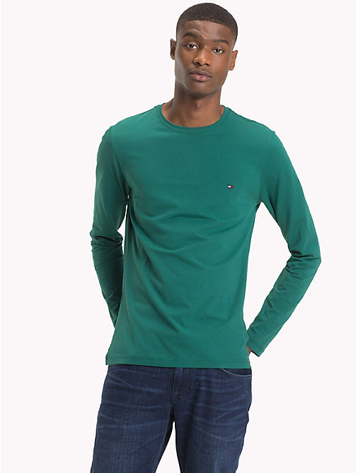 TOMMY HILFIGER Stretch Slim Fit Cotton T-Shirt - RAIN FOREST - TOMMY HILFIGER T-Shirts - main image