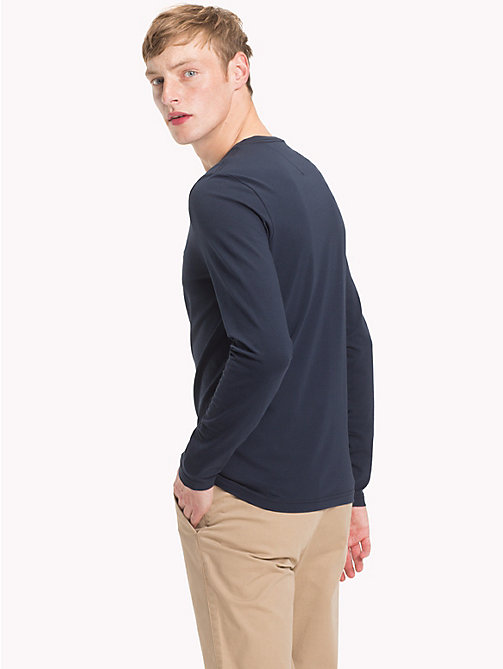 TOMMY HILFIGER Stretch Slim Fit Cotton T-Shirt - 413-SKY CAPTAIN - TOMMY HILFIGER NEW IN - detail image 1