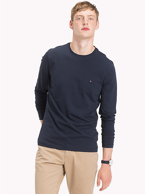 TOMMY HILFIGER Stretch Slim Fit Cotton T-Shirt - 413-SKY CAPTAIN -  Clothing - main image