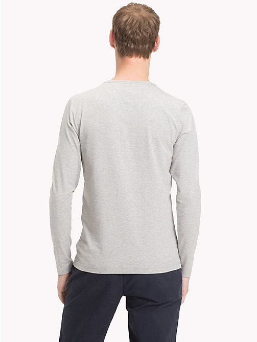 TOMMY HILFIGER Stretch Slim Fit Cotton T-Shirt - CLOUD HTR - TOMMY HILFIGER Clothing - detail image 1
