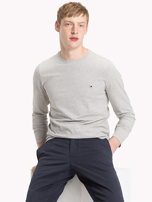 TOMMY HILFIGER Stretch Slim Fit Cotton T-Shirt - CLOUD HTR - TOMMY HILFIGER NEW IN - main image