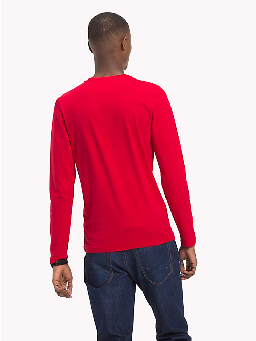 TOMMY HILFIGER Stretch Slim Fit Cotton T-Shirt - HAUTE RED - TOMMY HILFIGER T-Shirts & Polos - detail image 1