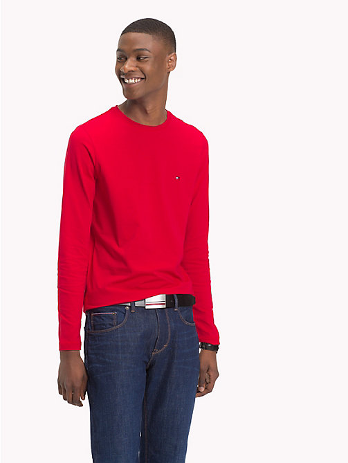 TOMMY HILFIGER Stretch Slim Fit Cotton T-Shirt - HAUTE RED - TOMMY HILFIGER T-Shirts - main image