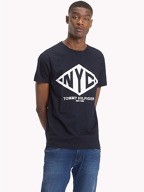 TOMMY HILFIGER NYC Logo Organic Cotton T-Shirt - 413-SKY CAPTAIN -  Clothing - main image