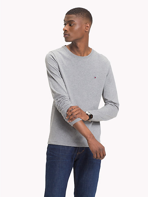 TOMMY HILFIGER Organic Cotton Jersey T-Shirt - SILVER FOG HTR - TOMMY HILFIGER T-Shirts - main image