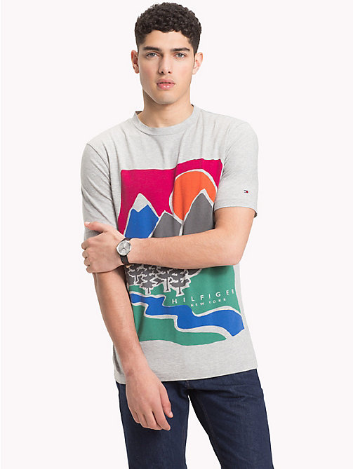 TOMMY HILFIGER Mountain Print T-Shirt - CLOUD HTR - TOMMY HILFIGER T-Shirts & Polos - main image