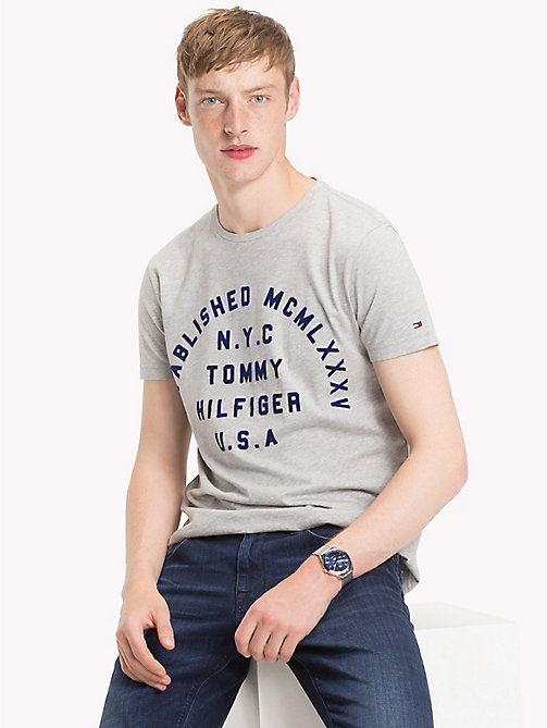TOMMY HILFIGER Stamp Logo Organic T-Shirt - CLOUD HTR - TOMMY HILFIGER NEW IN - main image