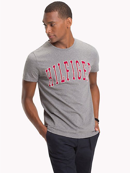 TOMMY HILFIGER College Logo Organic T-Shirt - SILVER FOG HTR - TOMMY HILFIGER T-Shirts & Polos - main image