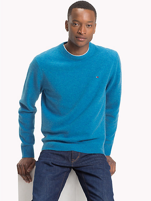 TOMMY HILFIGER Wool Crew Neck Jumper - VALLARTA BLUE HEATHER - TOMMY HILFIGER Clothing - main image