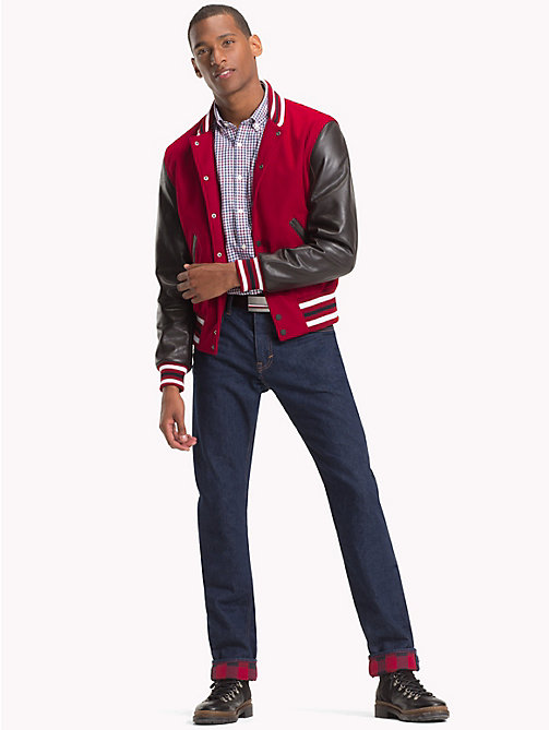 TOMMY HILFIGER Contrast Leather Varsity Jacket - RHUBARB - TOMMY HILFIGER Clothing - detail image 1