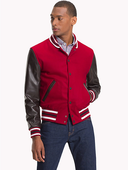 TOMMY HILFIGER Contrast Leather Varsity Jacket - RHUBARB - TOMMY HILFIGER Clothing - main image
