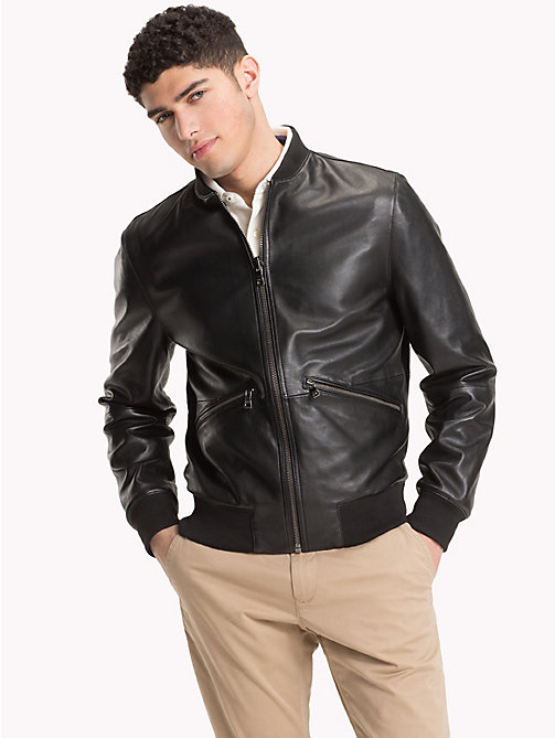 TOMMY HILFIGER Lightweight Reversible Leather Jacket - JET BLACK - TOMMY HILFIGER NEW IN - main image