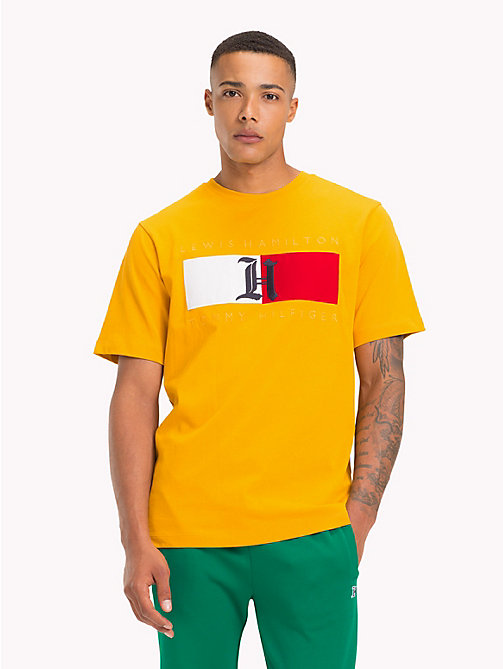 TOMMY HILFIGER Lewis Hamilton Flag T-Shirt - GOLDEN YELLOW - TOMMY HILFIGER TOMMY NOW MEN - main image